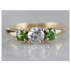 Old Mine Cut Diamond and Demantoid Garnet Ring
