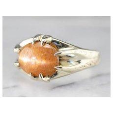 Unisex Antique Green 14 Karat Gold Sunstone Ring