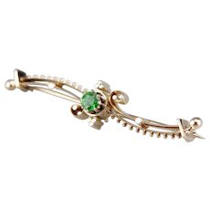 Vintage Green Garnet Scrolling Bar Pin