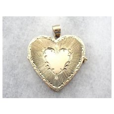 Large 14 Karat Gold Etched Heart Locket with Multiple Pages for Photos