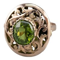 Floral Vintage Peridot Cocktail Ring