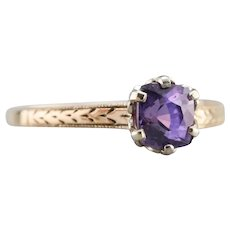 Upcycled Engraved Purple Sapphire Solitaire Ring