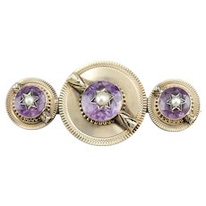Victorian Amethyst and Cultured Seed Pearl Brooch or Pendant