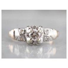 Classic Retro Era Diamond Engagement Ring