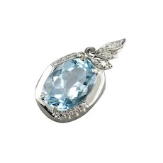 Upcycled Blue Topaz and Diamond Pendant