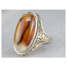 Vintage Agate Cabochon Filigree Ring