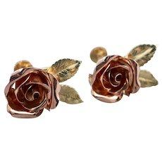 Sculpted Rose 14K Screw Back Earrings