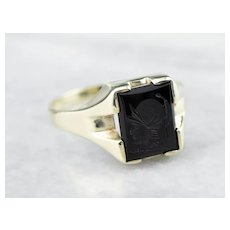 Ostby and Barton Black Onyx Intaglio Ring