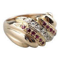 Retro Ruby and Diamond Statement Ring