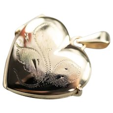 Etched Heart Locket Pendant