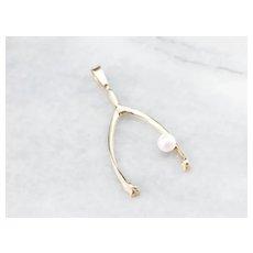 Large Cultured Pearl Wishbone Pendant