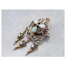 Victorian Revival Opal Filigree Brooch Pendant
