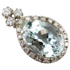 Diamond Halo Aquamarine Pendant