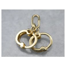 Vintage Handcuffs Charm with Moving Parts