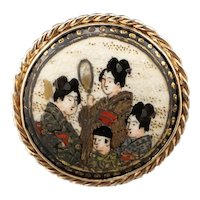 Japanese Geisha Painted Porcelain Ring