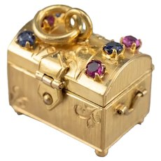 Sapphire Ruby Treasure Chest Charm