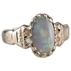 Ornate Upcycled Opal Solitaire Ring