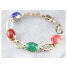 Retro Era Cabochon Link Bracelet
