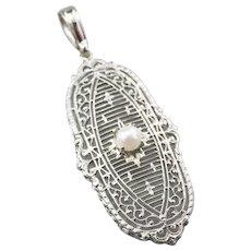 Art Deco Cultured Pearl Filigree Pendant