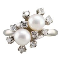 Cultured Pearl and Diamond Double Halo Ring