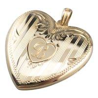 """VIntage """"B"""" Monogram Heart Locket Pendant"""