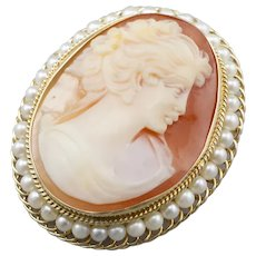 Vintage Cameo and Cultured Pearl Brooch or Pendant
