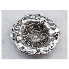 Sculptural 925 Sterling Silver Flower Dish