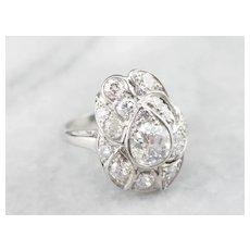 Stunning European Cut Diamond Cocktail Ring