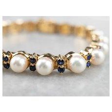 Cultured Pearl Sapphire Tennis Bracelet