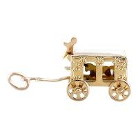 Vintage Enamel Horse and Circus Wagon Charm