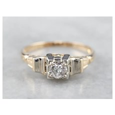 Two Tone 14 Karat Gold 1930's Diamond Ring
