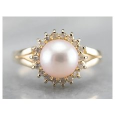 Cultured Pink Pearl with Diamond Halo Ring