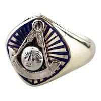 Vintage Masonic Blue Enamel and 14 Karat Gold Ring