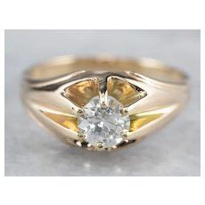 European Cut Diamond Belcher Set Ring