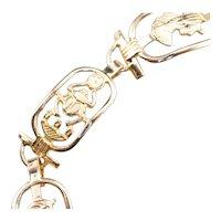 Egyptian Hieroglyphics Cartouche Link Bracelet