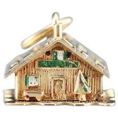 Christmas Cabin Gold Charm