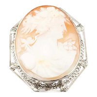 Vintage White 14 Karat Gold Filigree Cameo Brooch or Pendant