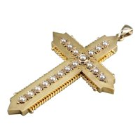 Victorian Gothic Cultured Pearl Cross