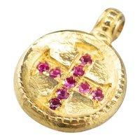 Portuguese Ruby Cross Medal Pendant