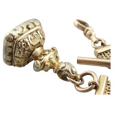 Antique Victorian Watch Chain and Sardonyx Carved Fob