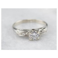 Early Retro Era Diamond Engagement Ring Circa 1930s