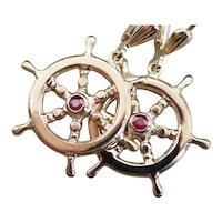 Vintage Ruby Captains Wheel Drop Earrings