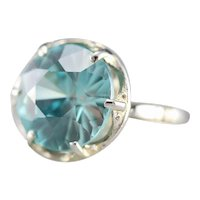 Stunning Upcycled Deco Blue Zircon Statement Ring
