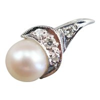 Sweet Cultured Pearl and Diamond Pendant