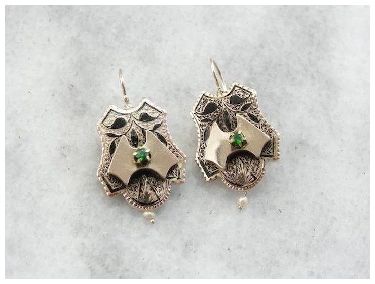 Demantoid Garnet Enamel And Seed Pearl Drop Earrings Market Square Jewelers Ruby Lane