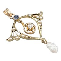 Sapphire Freshwater Pearl and Diamond Buttercup Lavalier Pendant