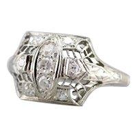 Vintage Art Deco Diamond Filigree Dinner Ring