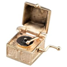 Moving Enamel Record Player Charm