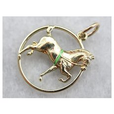 First Prize! Enameled Equestrian Charm Pendant