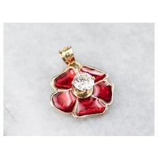 Diamond Enamel Poppy Flower Pendant